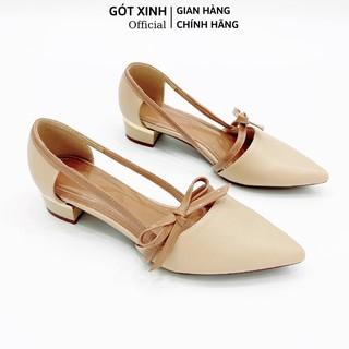 Giày cao gót GÓT XINH GX035 da mềm đế vuông cao 3 phân