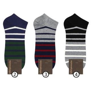 Bộ 3 đôi tất vớ nam cổ ngắn chất liệu cotton họa tiết kẻ sọc to