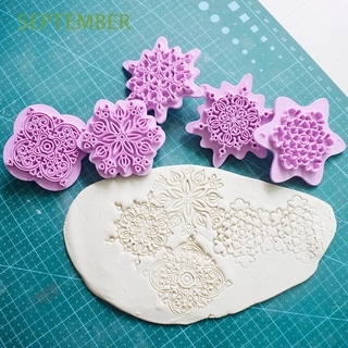 SEPTEMBER 5pcs/set Clay Sculpture Texture Stamp Tool Clay Molds Dotting Tools DIY Lace Pattern Polymer Plastic Mandala Mould/Multicolor
