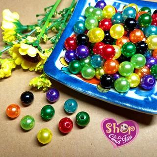 100 hạt Giả Trai 8mm nhiều màu nhiều màu sáng bóng đẹp Trang trí Thủ công