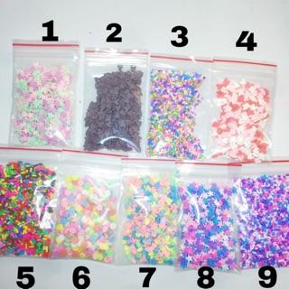 Cốm trang trí slime/ Cốm cầu vồng/ Cốm làm slime/ Cốm trái tim/ Cốm bông tuyết/ Cốm đủ màu