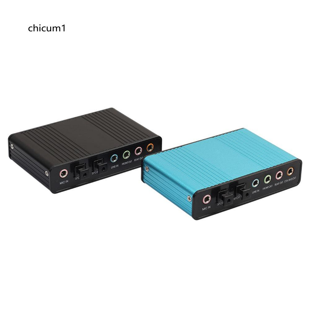 CHI USB 2.0 External 6 Channel 5.1 Optical Audio Sound Card for Notebook Laptop PC