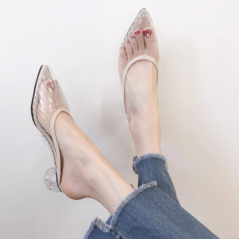 Grandma Baotou Semi-slippers Women Wear New Transparent Plas