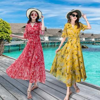 Bộ 18 món gồm váy maxi dài + áo thun maxi họa tiết hoa
