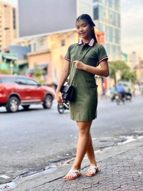 Đầm kiểu cổ polo cực đơn giản cho nữ