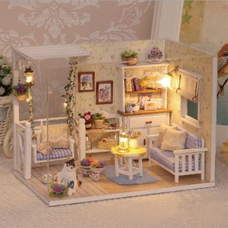 HEL❤ Doll House Furniture Kids Diy Miniature Dust Cover 3D Wooden Dollhou