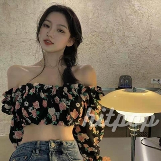 Hitpop-Women Fashion Floral Print Crop Top Stylish Long Sleeve Off Shoulder Tops for Ladies