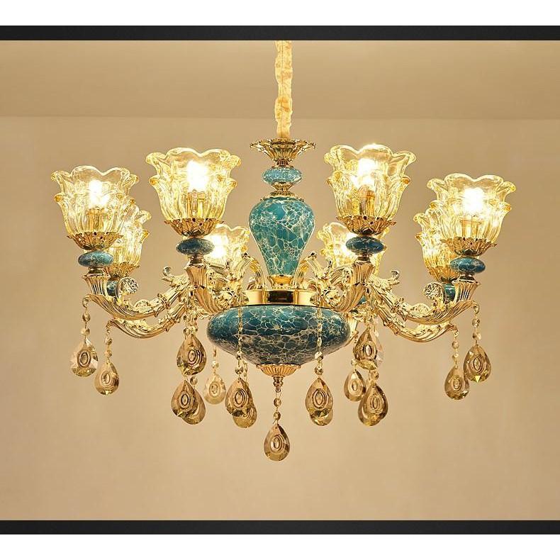 Đèn chùm trang trí ROYA phong cách Châu Âu hiện đại sang trọng loại 8 tay - Tặng kèm bóng LED đầy đủ