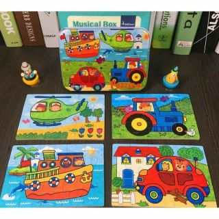 HỘP PUZZLE TỔNG HỢP 4 IN 1 – lever pt giao thông ( mẫu 1)