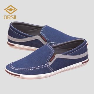 [Mã FAMALLT5 giảm 15% đơn 150K] Giày lười nam vải jean ORSIL màu xanh cá tính - L13