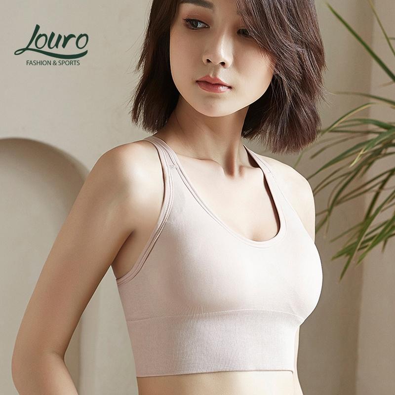 Mặc gì đẹp: Dẻo dai với Áo tập Yoga nữ cao cấp Louro BL16, kiểu áo bra tập yoga nữ quai chéo co giãn, có mút nâng ngực, thoáng mát