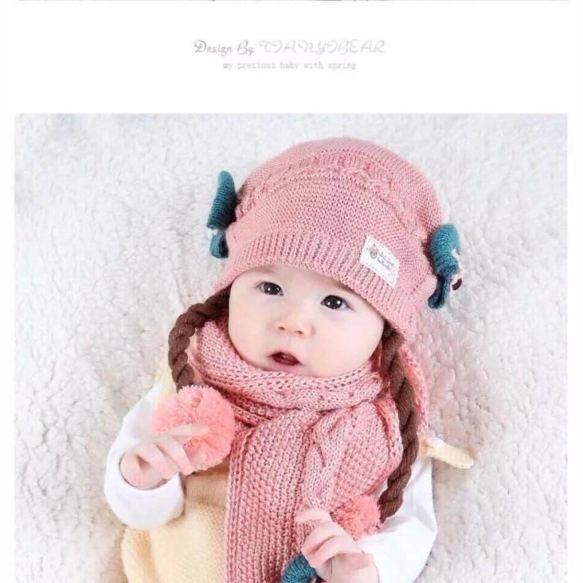 Bộ Mũ và khăn len có tóc giả cho bé gái từ 6 tháng - 5 tuổi (ảnh thật)
