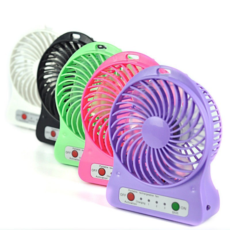 Quạt mini pin sạc cầm tay 3 chế độ có đèn pin - Hàng Loại 1 (Giao Màu Ngẫu Nhiên)