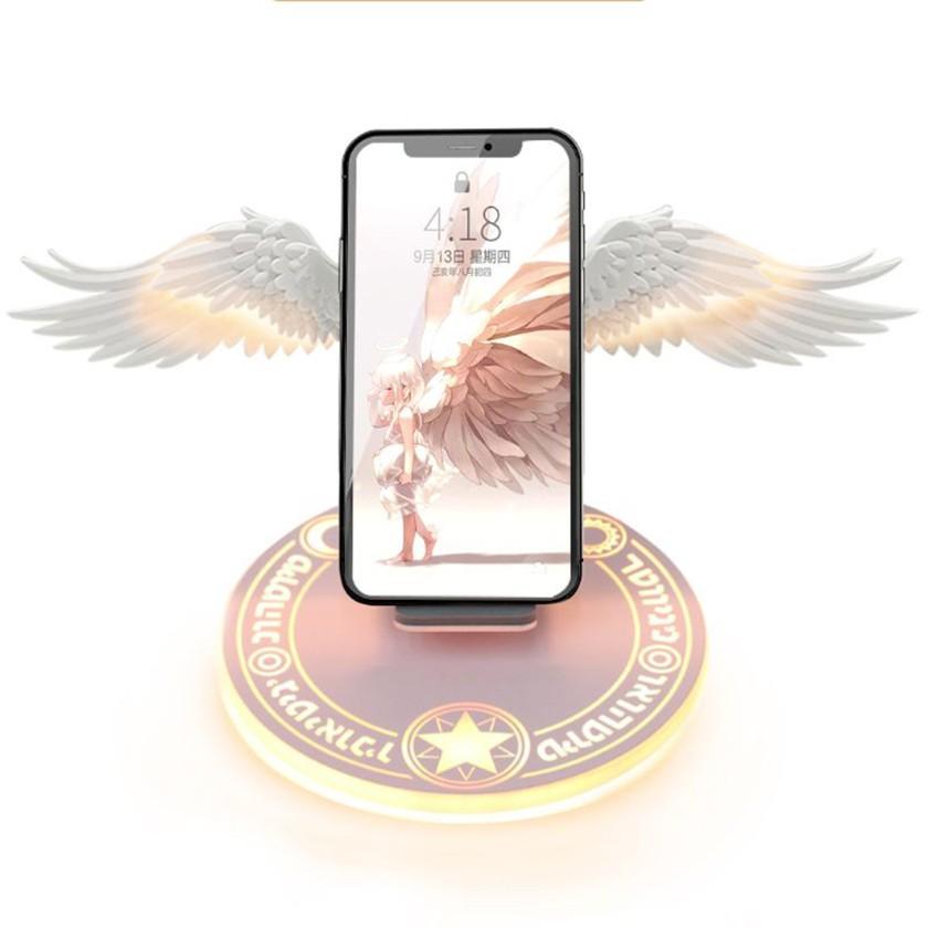 Sạc không dây 10w có đèn led hình cánh thiên thần cho điện thoại đế sạc nhanh
