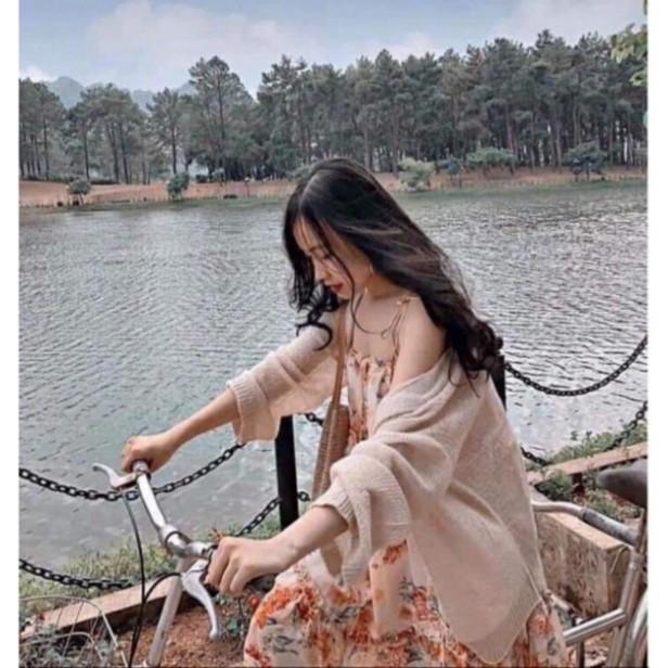 Áo cardigan nữ len mỏng form rộng dệt kim ulzzang dáng dài VAVASA CD01