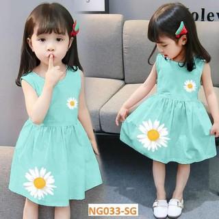 Váy Dạo Phố màu sáng Bông Hoa Bé Gái [7-22kg] Siêu Xinh 3 màu