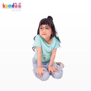 Áo T-shirt bé gái KANDOO màu xanh, in hình đáng yêu thoải mái hoạt động, 100% cotton cao cấp mềm mịn - DGTS1737