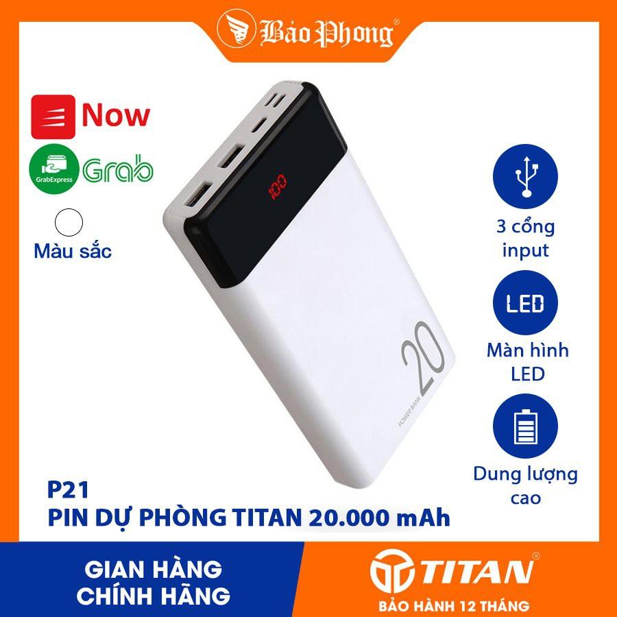 Pin Sạc Dự Phòng 20000 mAh TITAN input 3 đầu Type C / Lightning Micro cho iPhone 11 12 6 7 8 Plus X Max Samsung Oppo IP