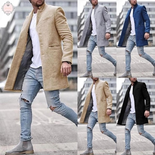 Men Mens Single-breasted Tops Outwear British Jacket Wool Blends Long Overcoat Buttons Up Lapel Sleeve Peacoat
