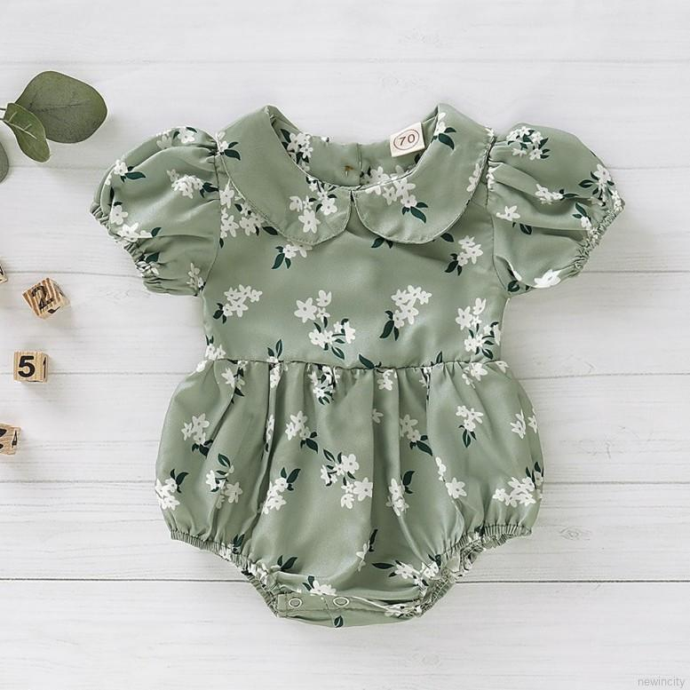 Summer Casual Jumpsuit Baby Girl Short Sleeve Lovely Flower Printing Rompers Kids Toddler Bod