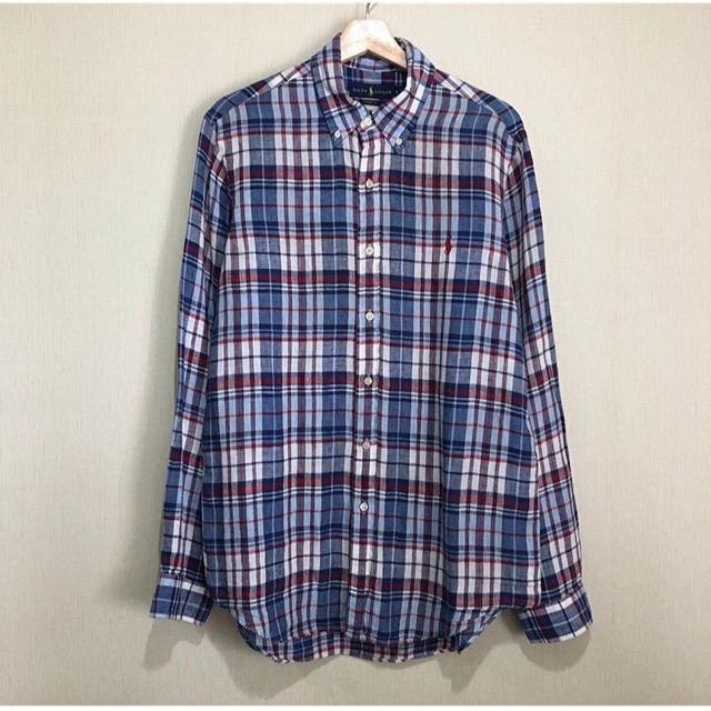 รหัส พ22 เสื้อเชิ้ต  Polo Ralph Lauren สก็อต น้ำเงิน ผ้าลินิน