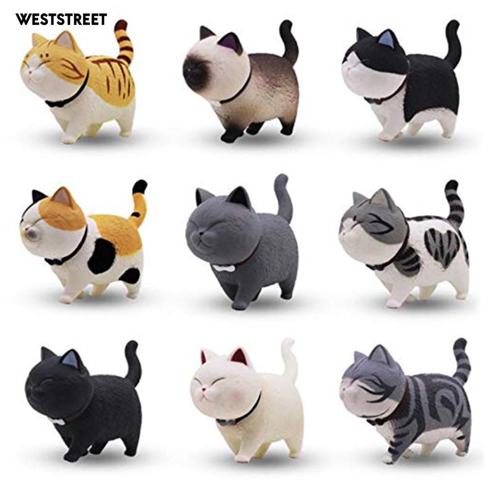 Set 9 Mô Hình Mèo Xoay Đầu Trang Trí Bánh Sinh Nhật Cho Bé