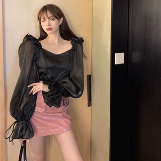 Pretty ❀ French Square Neck Blouse Women Puff Long Sleeve Crop Tops Mesh Slim Shirts ❃