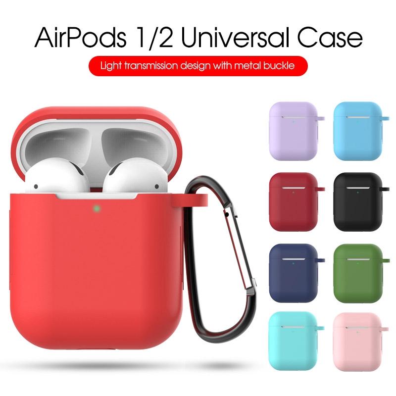 Vỏ bảo vệ hộp sạc tai nghe airpod 1 2 bằng silicon có móc kim loại tiện dụng