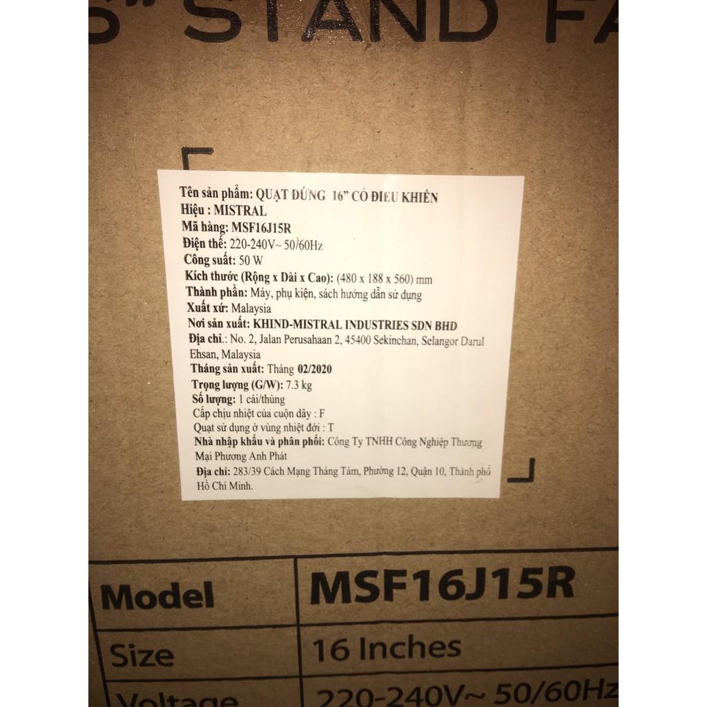 [Bảo hành 12 tháng] Quạt cây Mistral MSF16J15R - Có điều khiển từ xa - Nhâp khẩu Malaysia - Thương hiệu Úc - Quạt đứng