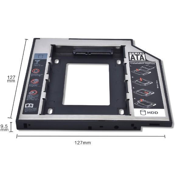 Caddy Bay HDD SSD SATA 3 9.5mm/12.7mm-Khay ổ cứng thay thế ổ DVD-NEW