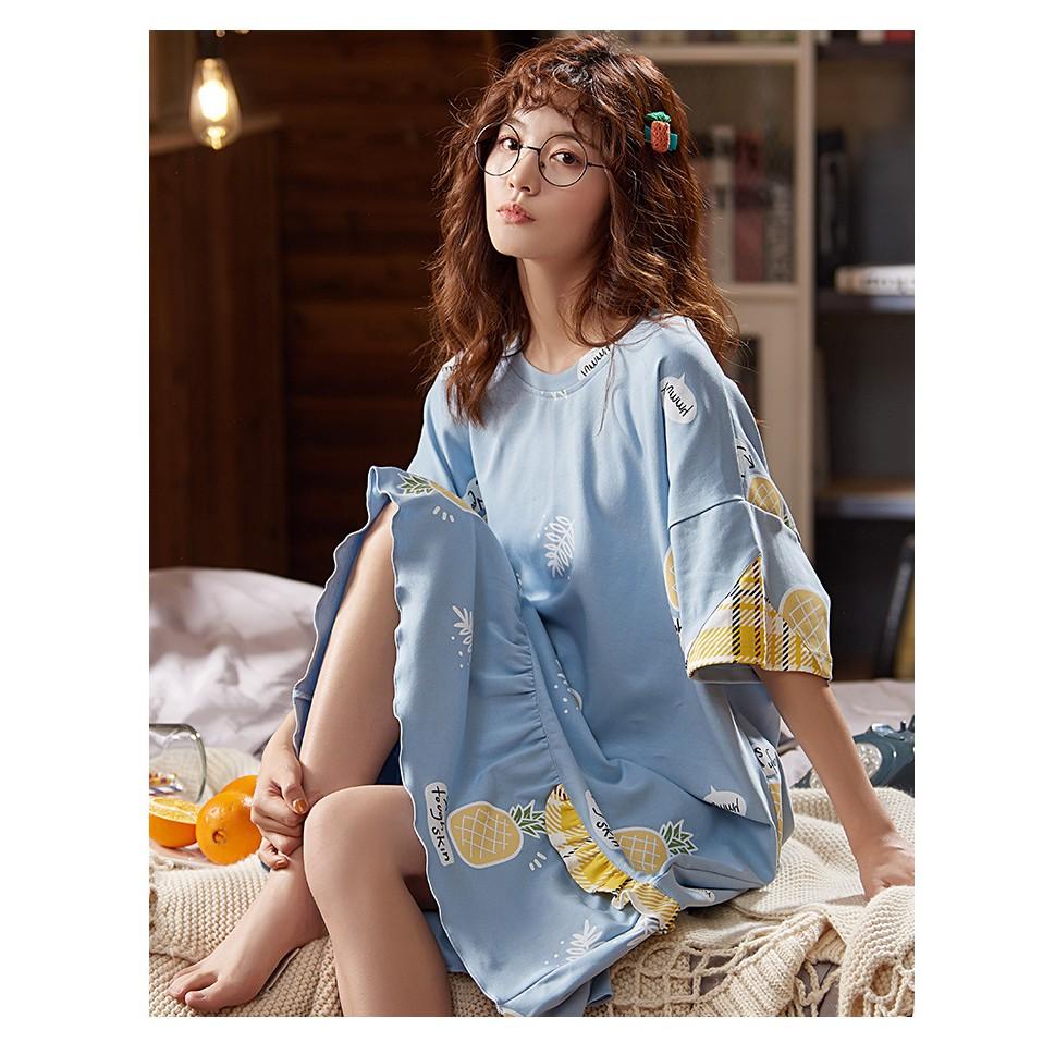(FREESHIP TỪ 50K) Váy ngủ dáng suông ngắn tay in hình dễ thương, có túi 2 bên hông tiện lợi
