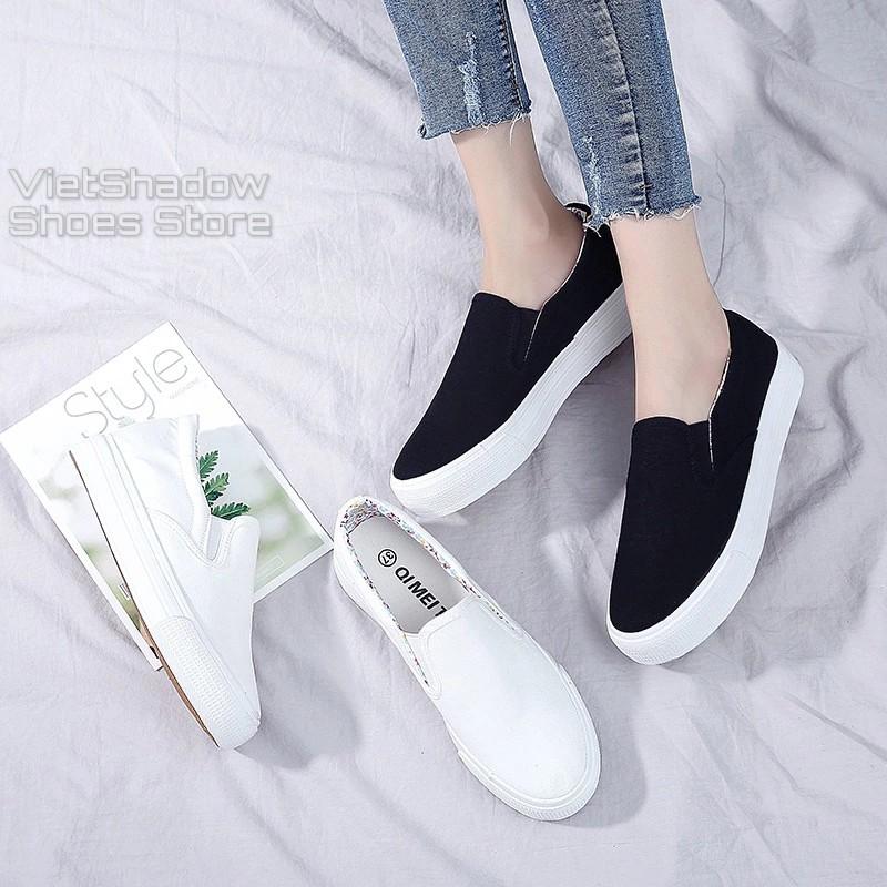 Slip on vải nữ - Giày lười vải nữ đế bánh mì - Vải thô màu (trắng) và (đen) đế trắng - Mã SP: H802