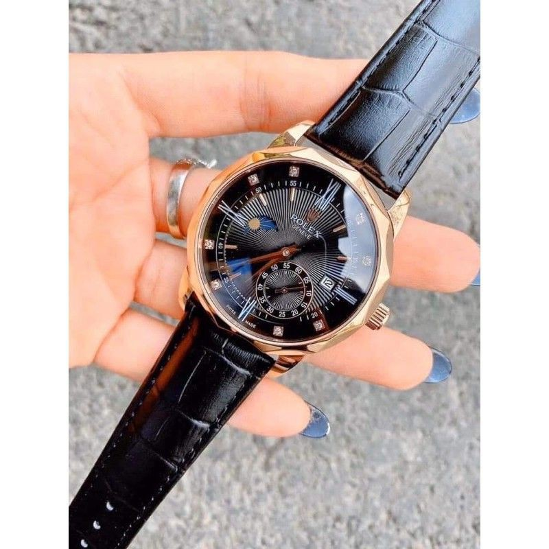 Đồng hồ nam ROLEX cơ dây da cao cấp đẹp sắc nét- Rolex