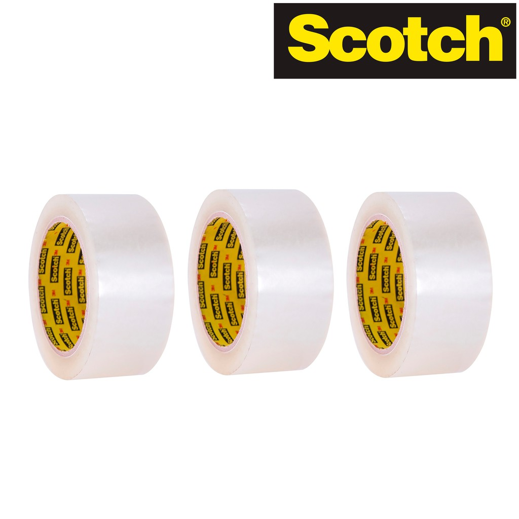 Bộ 3 cuộn băng keo trong đóng thùng Scotch 47mm x 70m x 0.043mm - OPP Tape