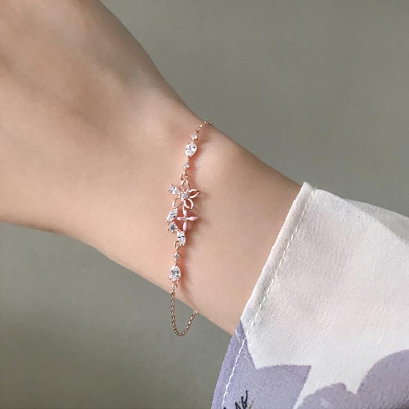 [Mã FASHIONT4FA2 giảm 10K đơn 50K] Creative Butterfly Flower Design Charm Bracelet Zircon Rose Gold Color Women Bangle Metal Bracelet Jewelry