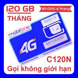 SIM 4G MOBIFONE C120N ƯU ĐÃI 120 GB tháng (4 GB ngày) + Gọi điện thoại không giới hạn (90k tháng) thumbnail