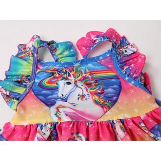 Đầm tay con kì lân cổ tròn cho bé gái 3-8 tuổi