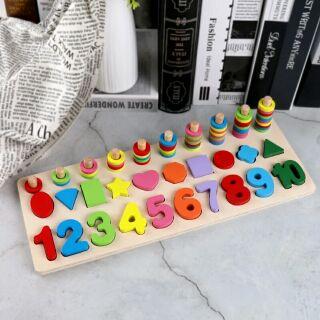 Bộ gỗ nhận biết số và các hình học cho bé tặng thêm bảng đo thị lực và chiều cao