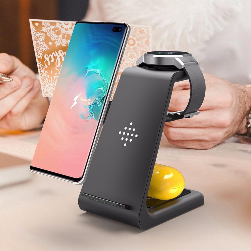 Bộ Sạc Nhanh Không Dây 3 Trong 1 Cho Iphone Xr Xs Max Android Samsung Phone