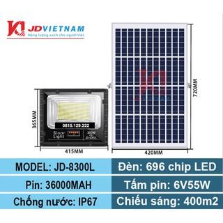 Đèn pha năng lượng mặt trời JINDIAN nhôm đúc nguyên khối, công suất 300W, Model: JD-8300L NÂNG CẤP 2020 – Bảo hành 3 năm
