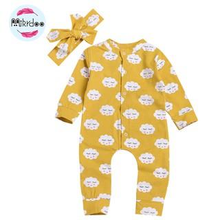 Mikrdoo Jumpsuit tay dài chất Cotton cho trẻ sơ sinh