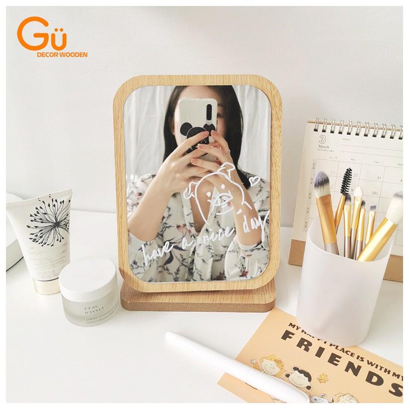 Gương trang điểm để bàn Gu Decor Wooden MAKEUP Gương gỗ nhỏ decor trang trí phòng ngủ