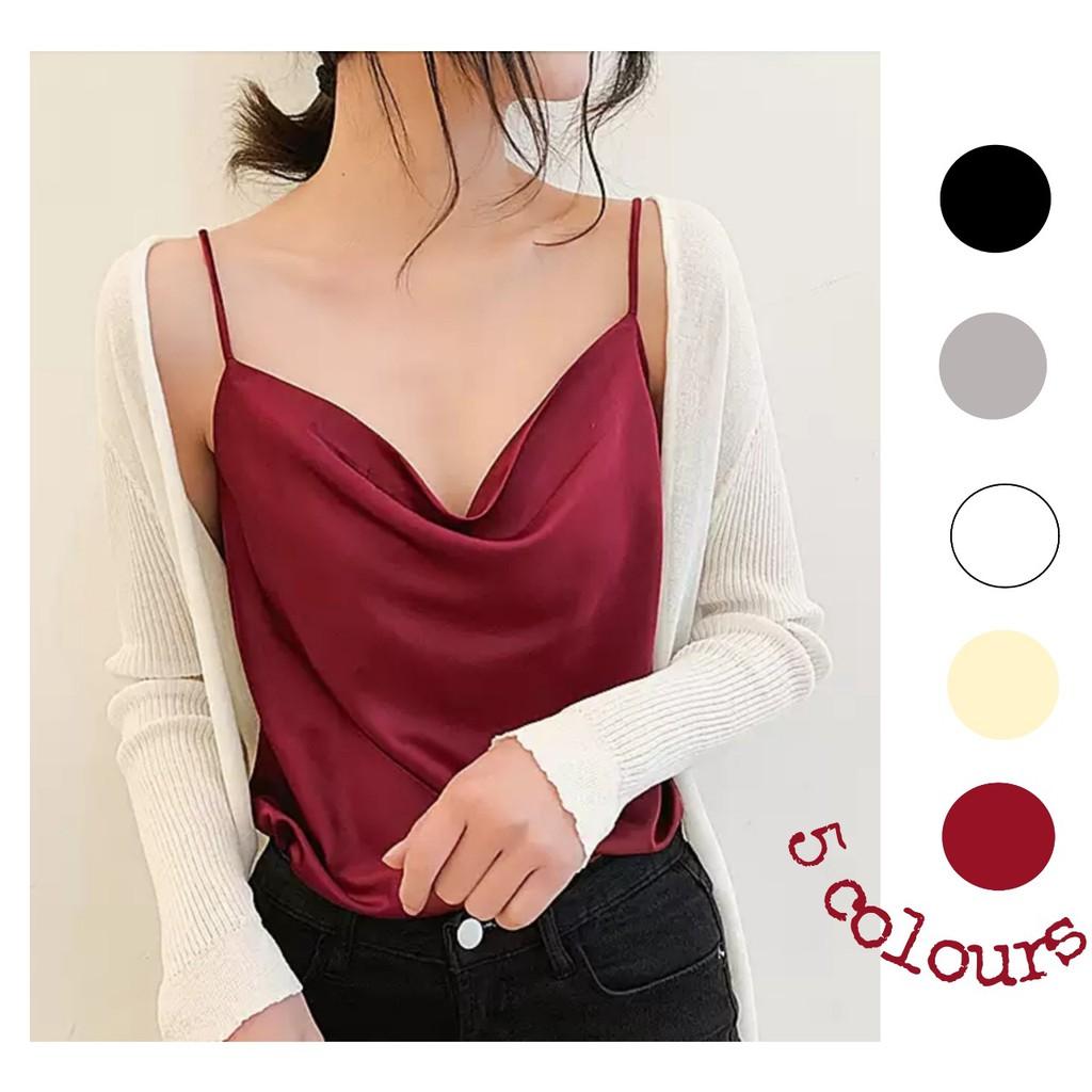 Áo 2 dây lụa cổ đổ Hàn Quốc cao cấp - top áo hai dây nữ cổ trễ thiết kế (hàng đẹp) thiết kế LIOLA