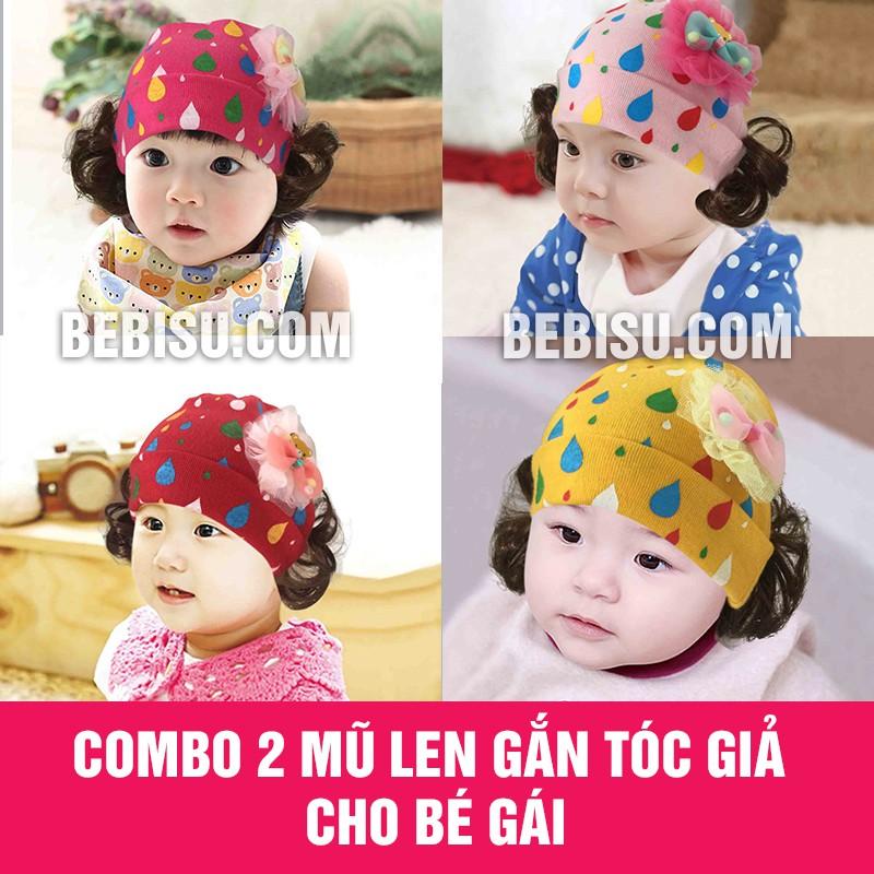 Combo 2 mũ len gắn tóc giả cho bé gái