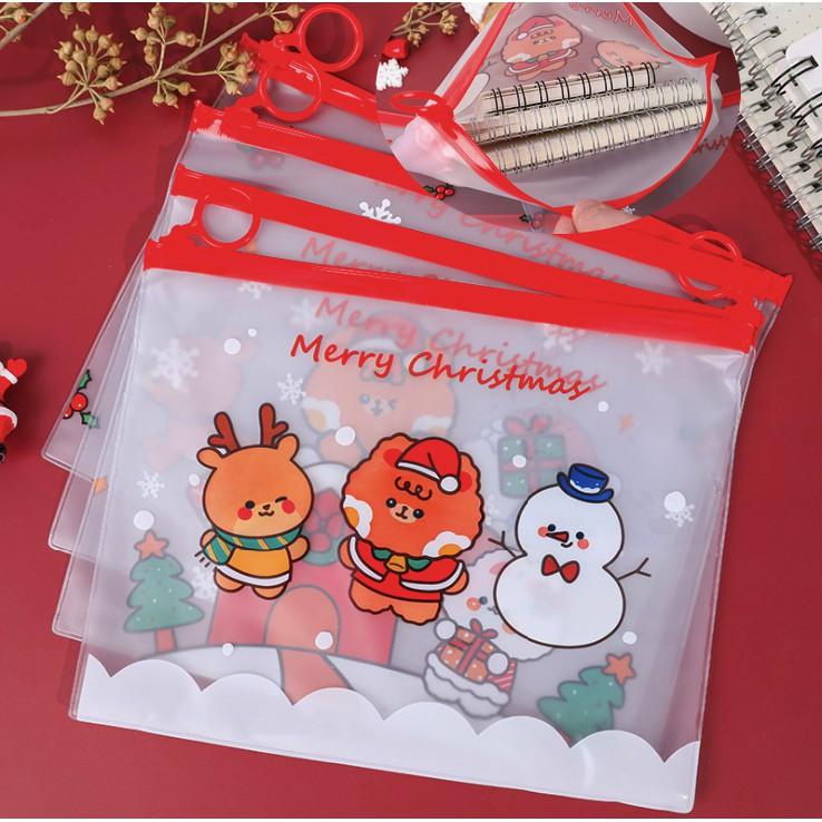 Túi Zip Cứng Đựng Đồ Trong Suốt Hoạ Tiết Cây Giáng Sinh Noel P081