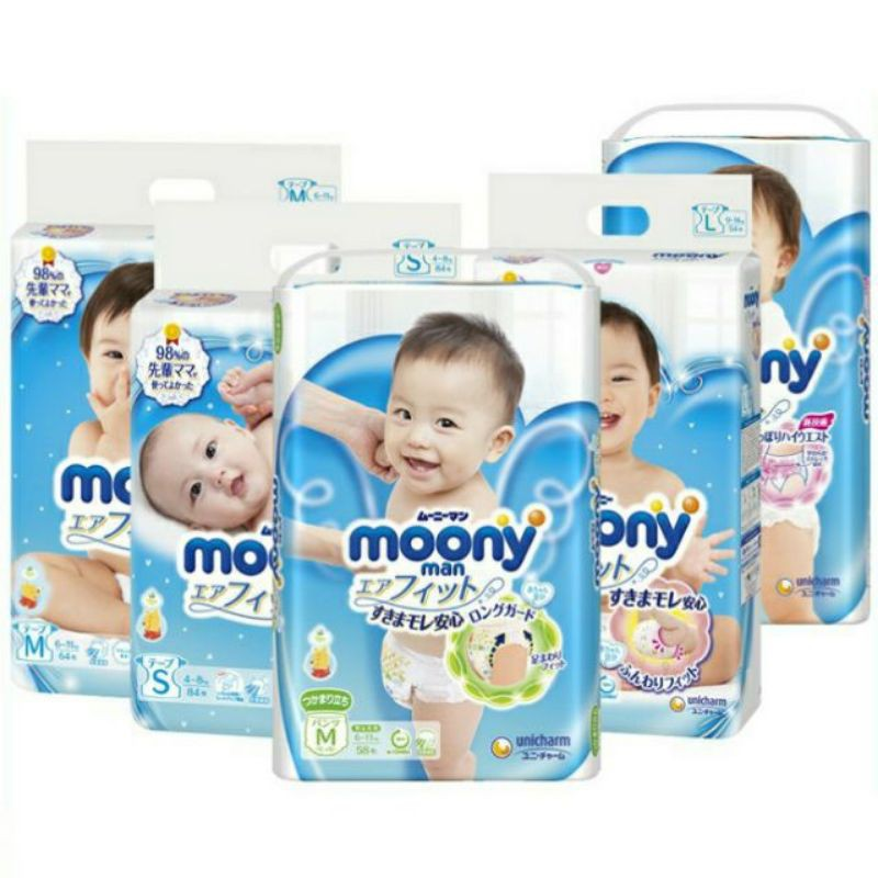 Tã dán/quần Moony Blue/Natural M58/M64/L54/L44 /xl38 /S84/newborn 90/xxl26