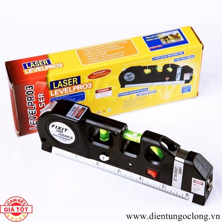 Thước Nivo, Căn Mực Laser Thước Kéo 2,5M 4in1 Laser Level Pro 3