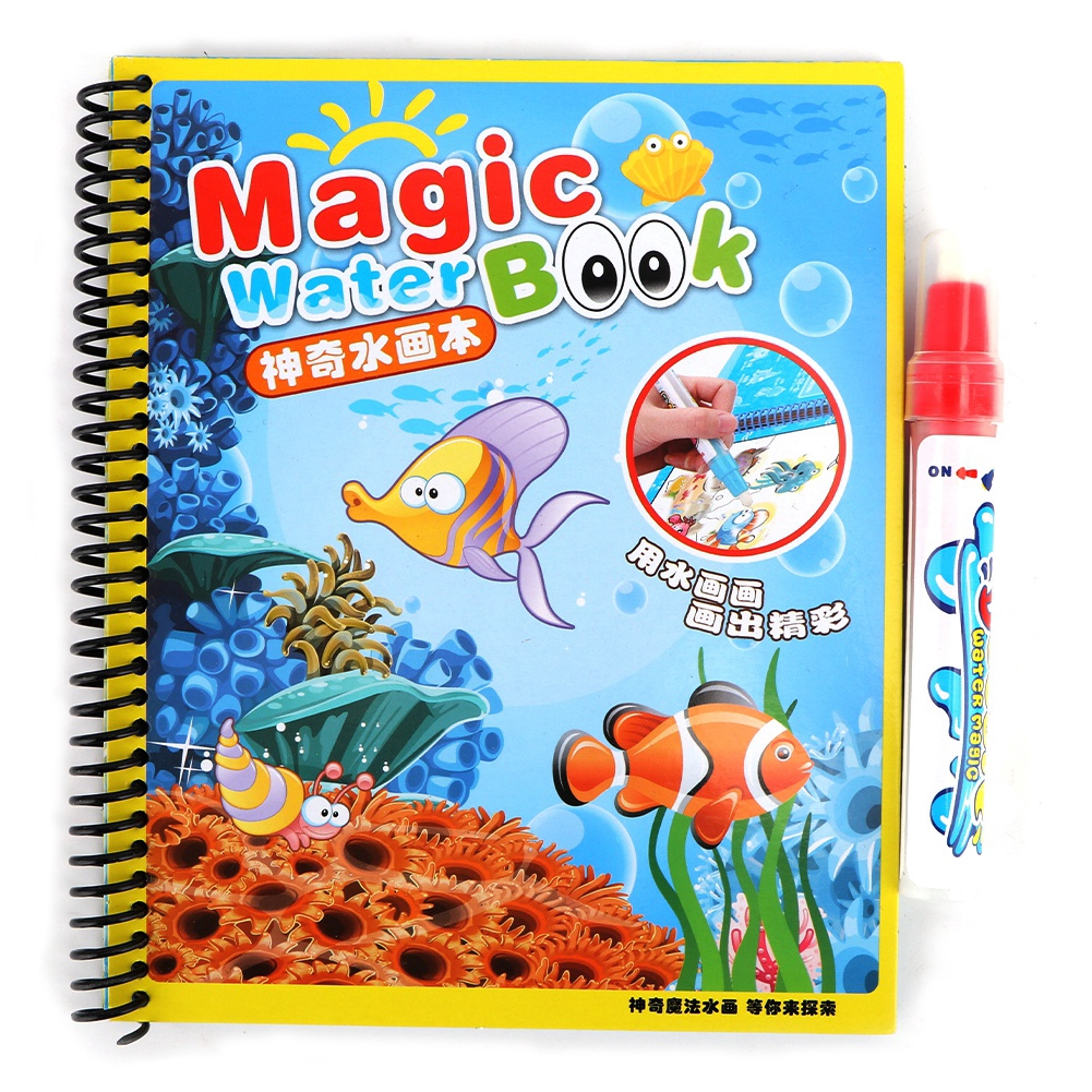 Goonshopping Baby Water Drawing Coloring Book Toddler Kids Early Education Reusable Cartoon Painting Toy