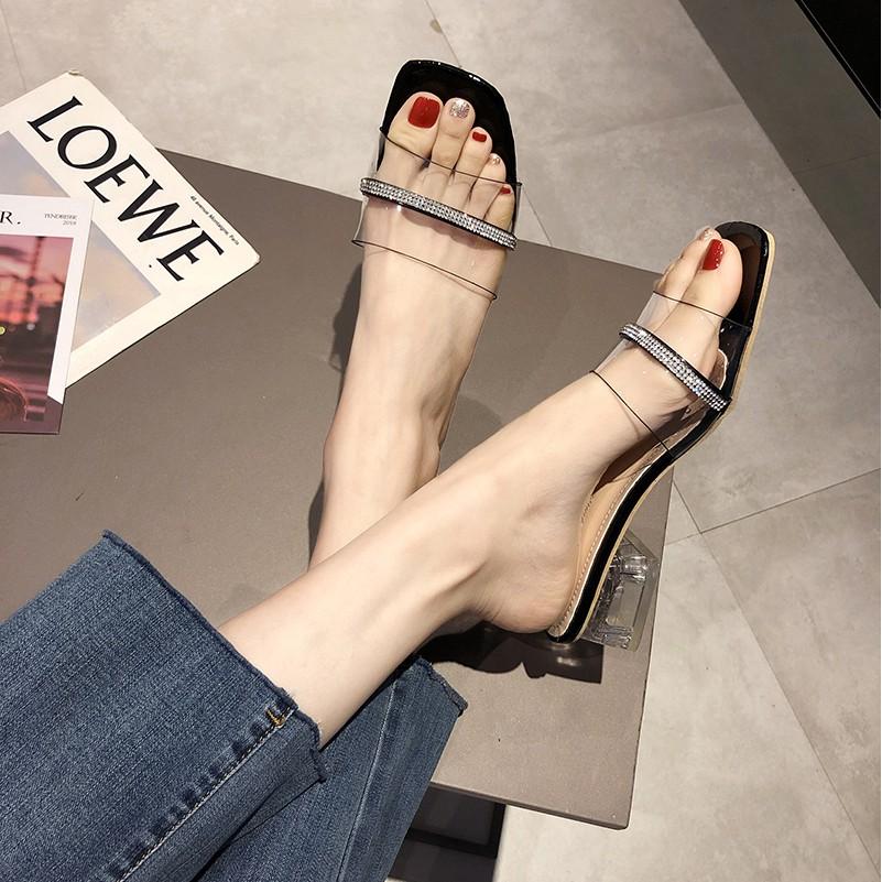 โปร่งใสครึ่งรองเท้าแตะหญิงรองเท้าแตะหญิงมุลเลอร์สวมใส่รองเท้าแตะน้ำนางฟ้า