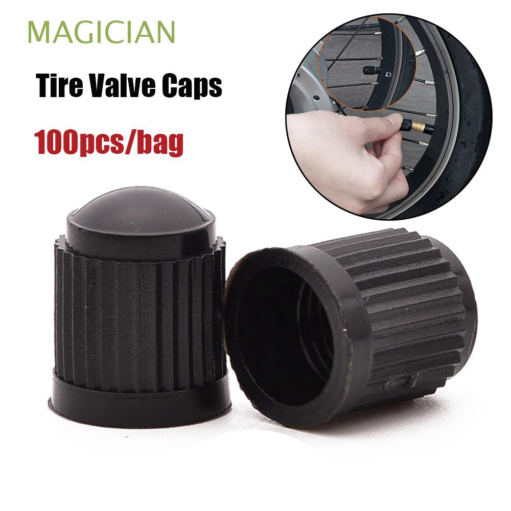 100pcs/bag High quality Black Tubeless Wheels Tires Air Valves Stem Plastic Tire Valve Caps